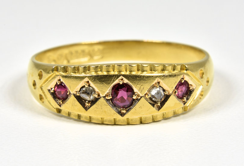 Antique Victorian 15ct Gold Ruby & Diamond Ring, (Chester 1898)