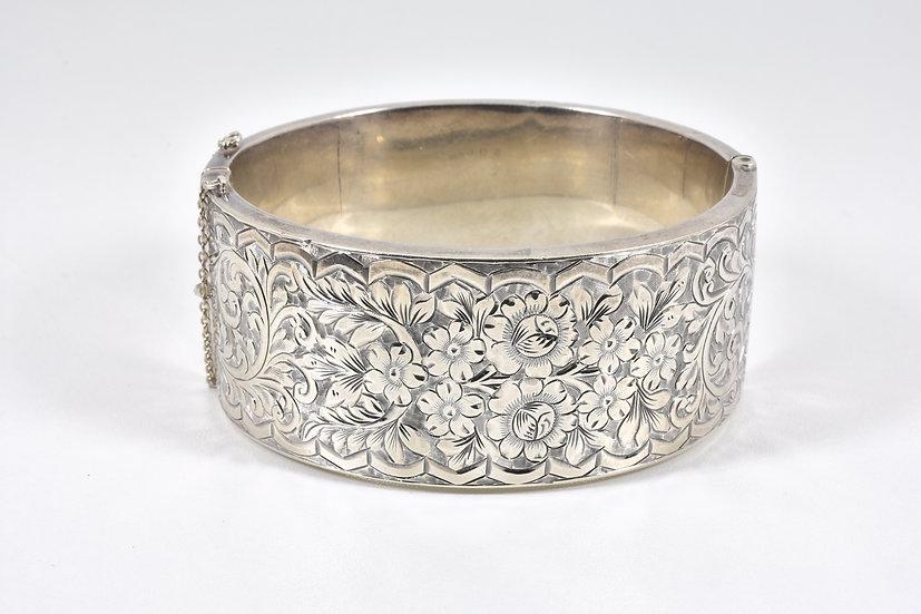 Art Deco English Silver Hinged Bracelet, (Smith & Pepper Ltd, Birmingham, 1933)