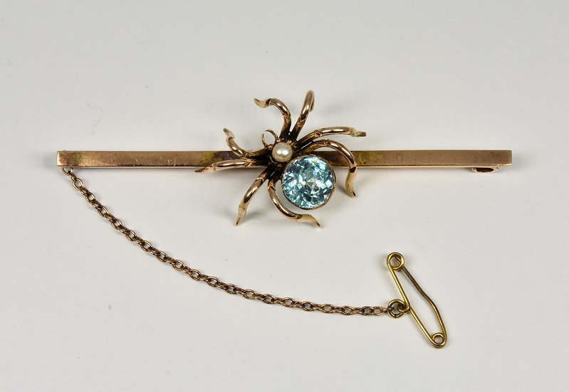 Antique Victorian 9ct Gold Blue Topaz & Pearl Spider Brooch/Tie Pin, C1880