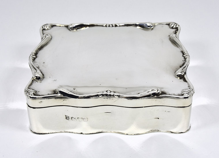 Antique English Edwardian Solid Silver jewellery Box, (Chester, 1820)