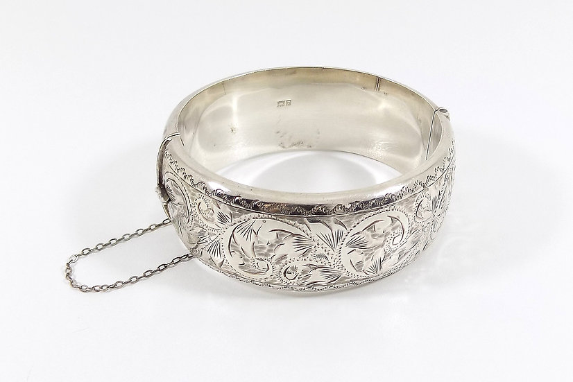 Vintage Solid Silver Hinged Bracelet, 1958, Weight 40.84g