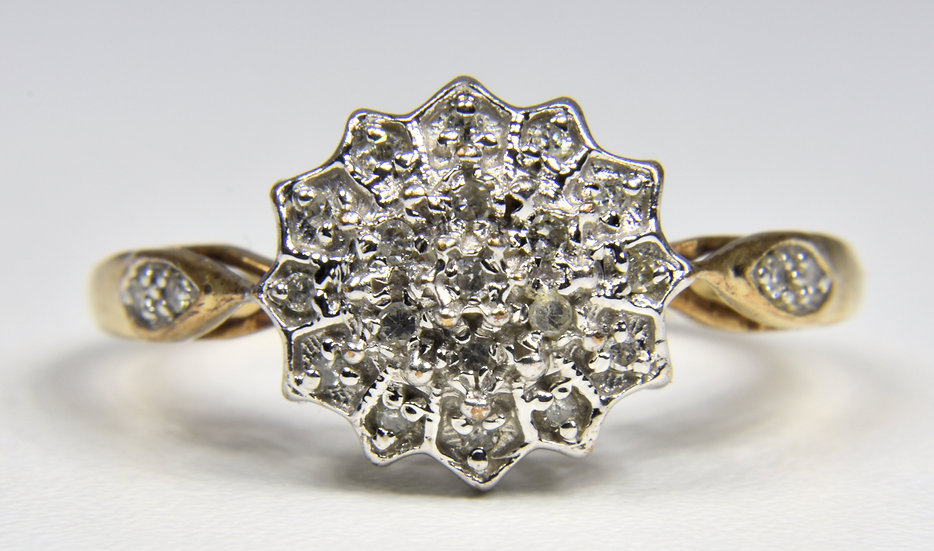 Vintage 9ct Gold Diamond Cluster Daisy Ring, 1950's