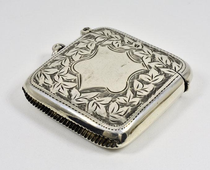 Antique English Edwardian Solid Silver Vesta Case (T Heatley, 1910)