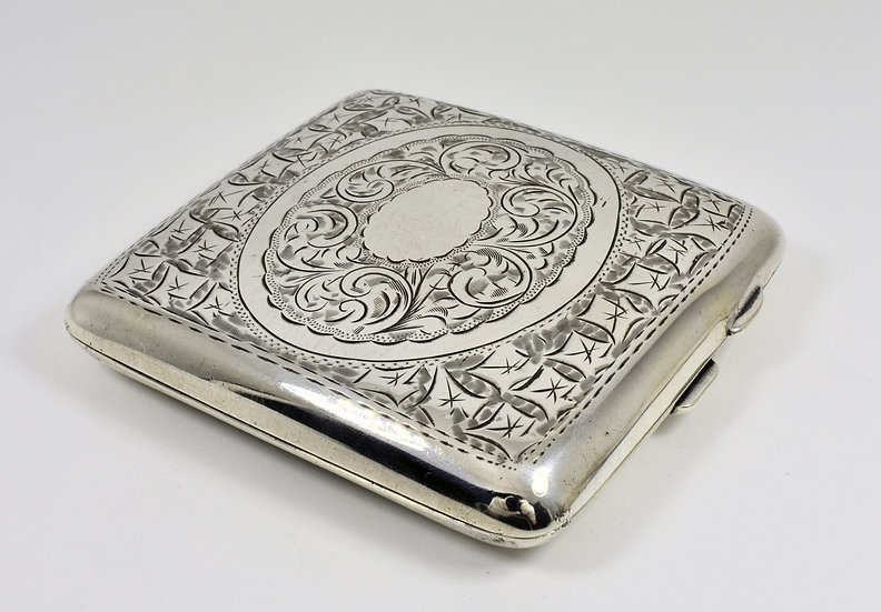 Antique English Solid Silver Cigarette Case (Hammond, Turner & Sons, 1912)