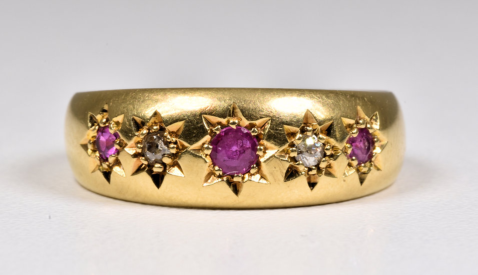 Antique Edwardian 18ct Gold Ruby & Diamond Gypsy Ring, (Birmingham,1902)