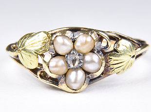 Antique Early Victorian Gold Diamond & Pearl Memorial Ring, With Original Box