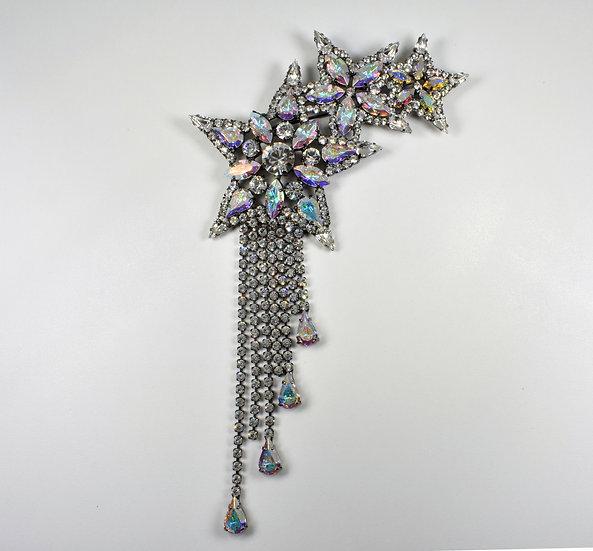 Butler & Wilson Large Triple Shooting Star Brooch, Swarovski Crystals