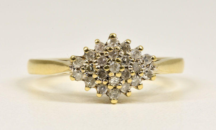 Vintage 9ct Gold Diamond Cluster Ring, (Sheffield,1980's)