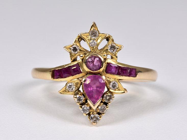 Antique Victorian 14ct Gold Ruby Diamond Tiara Ring, (c1880)