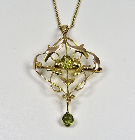 Antique Edwardian 15ct Gold Peridot Pendant/Brooch & Original 9ct Gold Chain