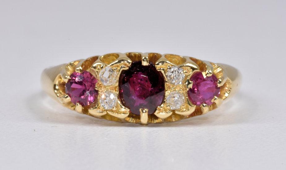 Vintage 18ct Gold Ruby & Diamond Ring, 1972