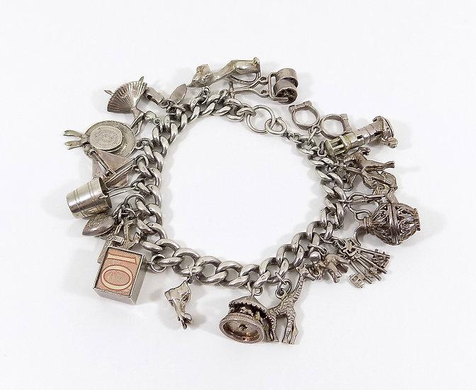 Vintage Solid Sterling Silver Charm Bracelet, 76.87g