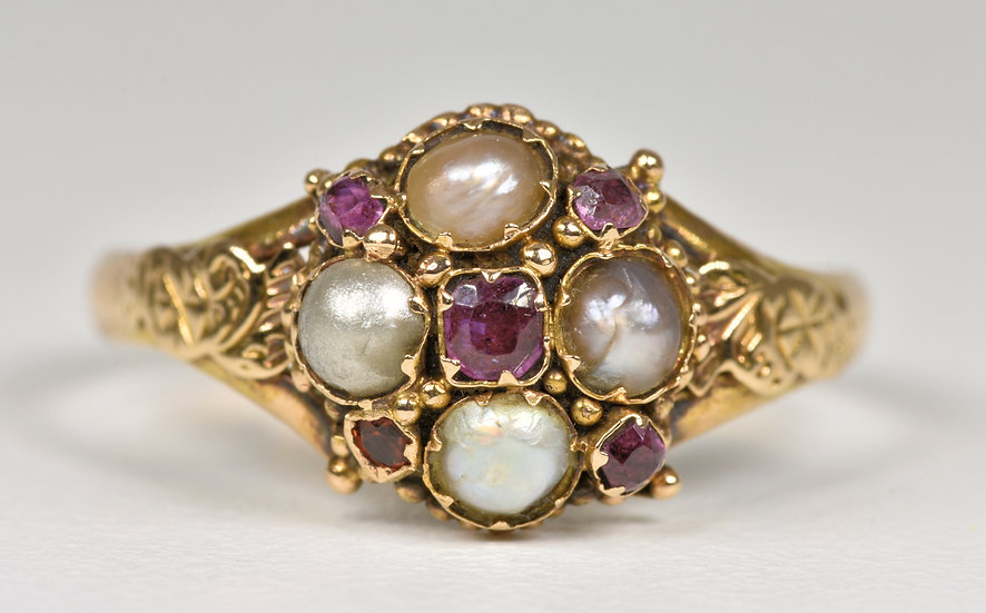 Antique Victorian 15ct Gold Spinel & Pearl Memorial Ring, (B'ham, 1870) Boxed