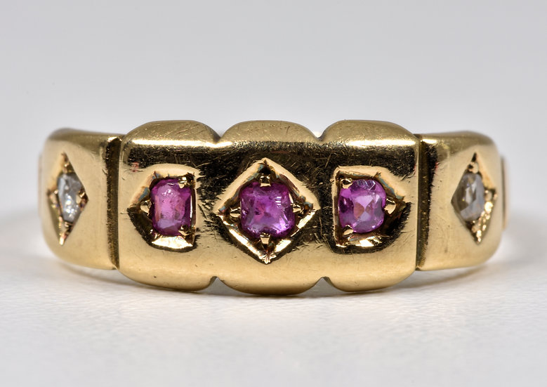 Antique Victorian 15ct Gold Ruby & Diamond Ring, (Chester, 1855)