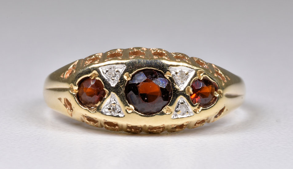 Vintage 9ct Gold Garnet & Diamond Ring, 1970's