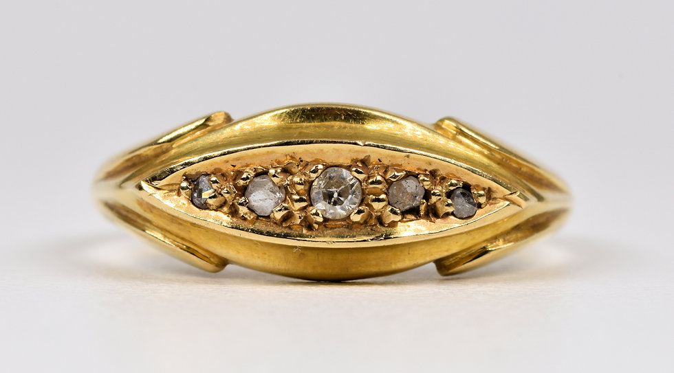 Antique George V 18ct Gold Old Cut Diamond Boat Ring, (Chester, 1915)