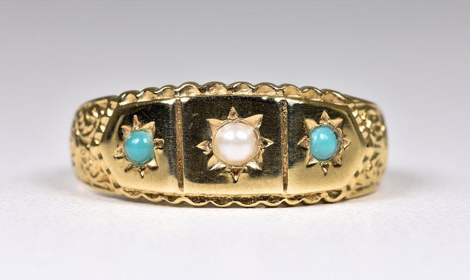 Vintage 9ct Gold Turquoise & Half Pearl Ring, (Birmingham,1994)