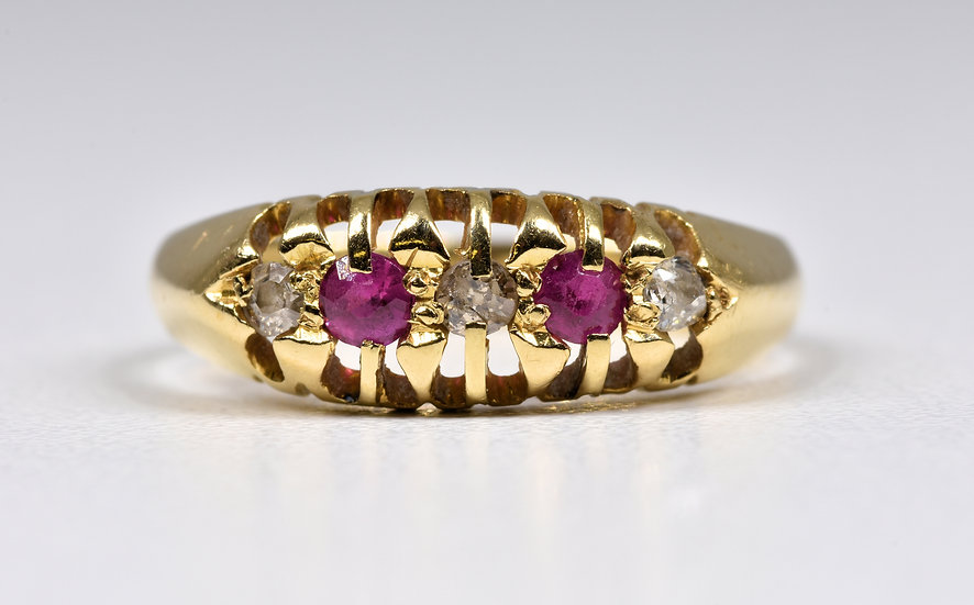 Antique George V 18ct Gold Ruby & Diamond Ring, (Birmingham, 1914)