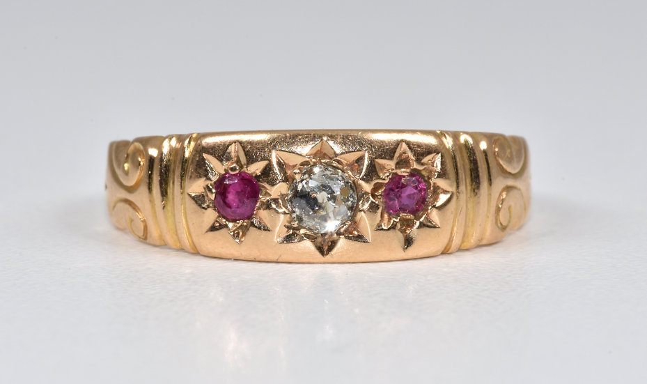 Antique Victorian 15ct Gold Ruby & Diamond Gypsy Ring, (c1880)