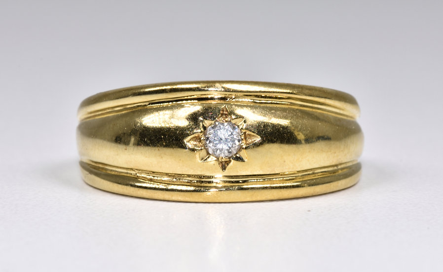 Vintage 9ct Gold Diamond Solitaire Domed Gypsy Ring, (London,1980's)