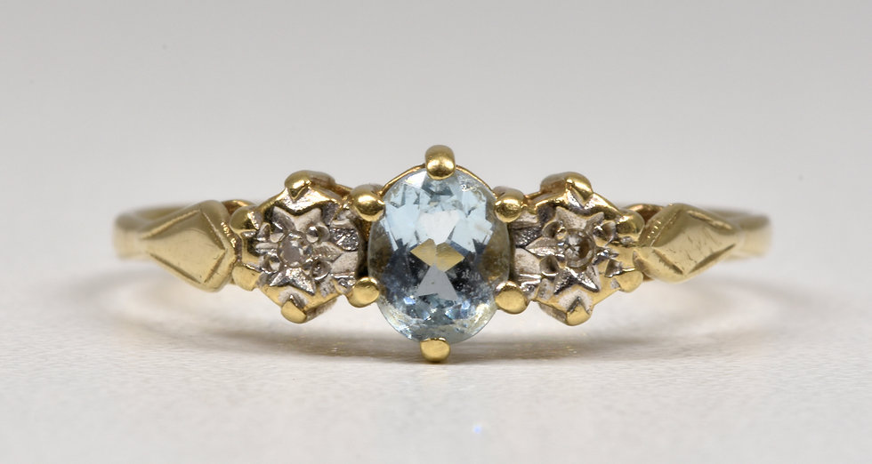 Vintage 9ct Gold Aquamarine & Diamond Ring, 1980's