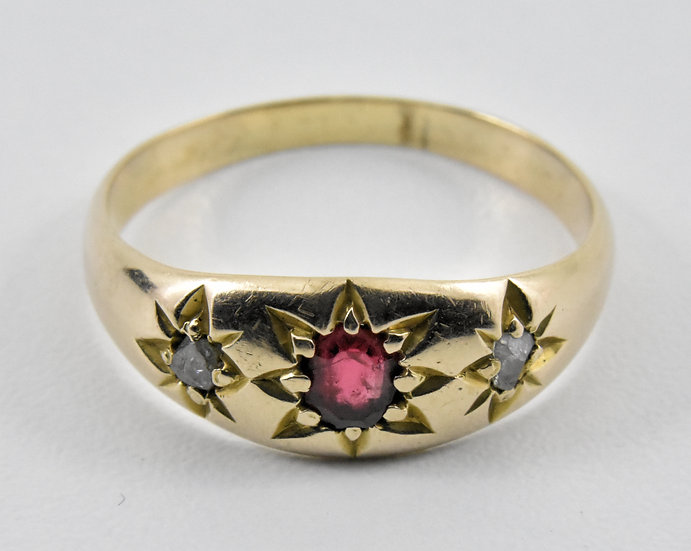 Antique Victorian 9ct Gold, Ruby & Diamond Gypsy Ring, c1895