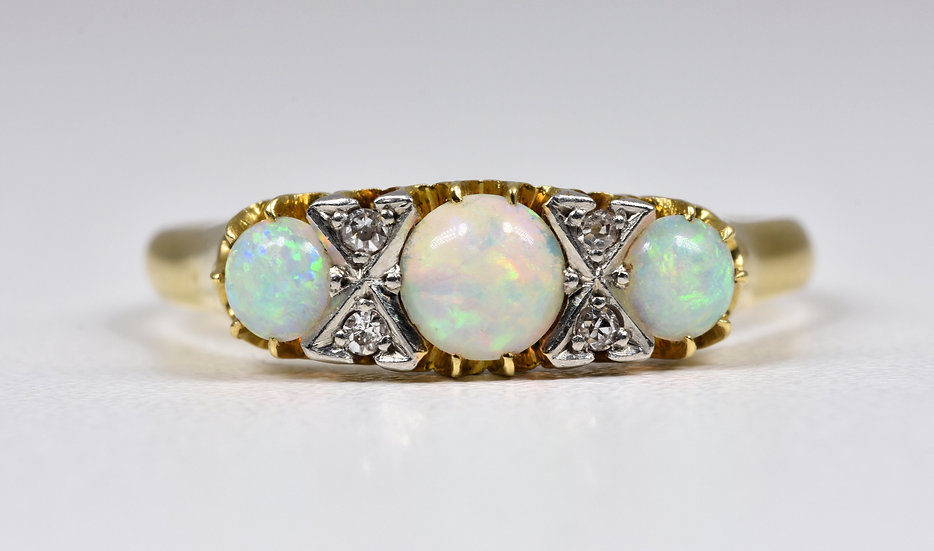 Antique Edwardian 18ct Gold Platinum Fire Opal & Diamond Ring, c1905
