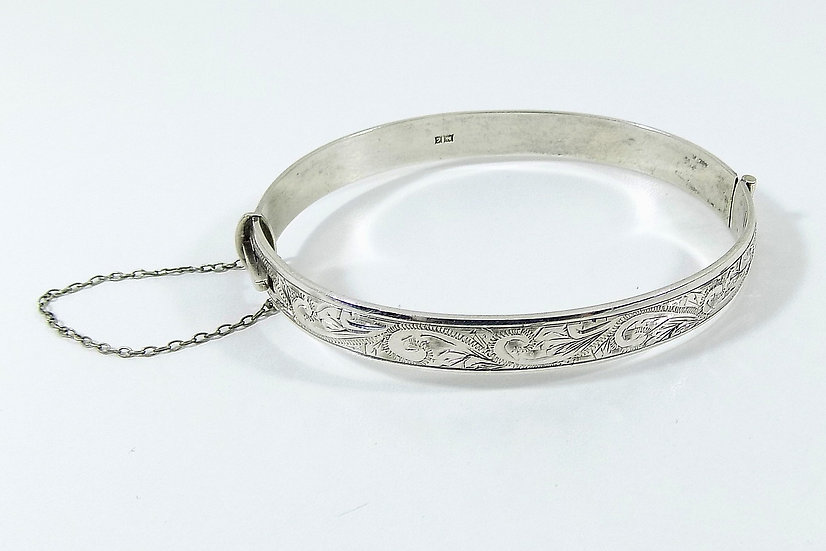 Vintage Solid Silver Hinged Bracelet, 1960, Weight 19.65g