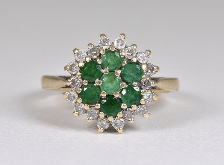 Vintage 9ct Gold Emerald & Diamond Daisy Cluster Ring, (London,1970's)