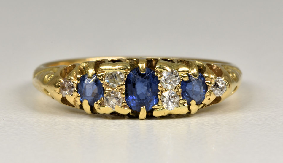 Antique Edwardian 18ct Gold Sapphire & Diamond Ring, (Chester,1903)