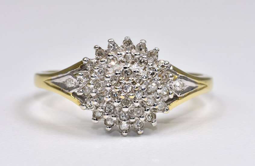 Vintage 9ct Gold Diamond Cluster Ring, 1980's