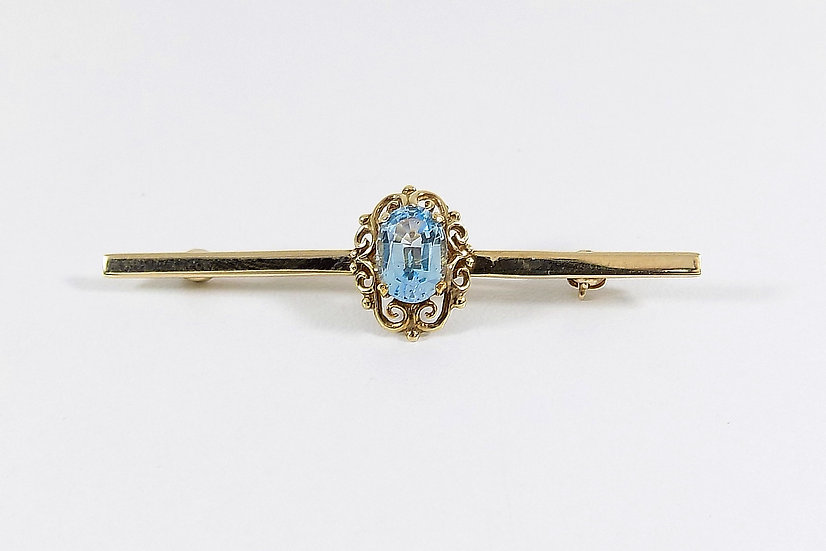 Vintage 9ct Gold Blue Topaz Bar Brooch, 1959