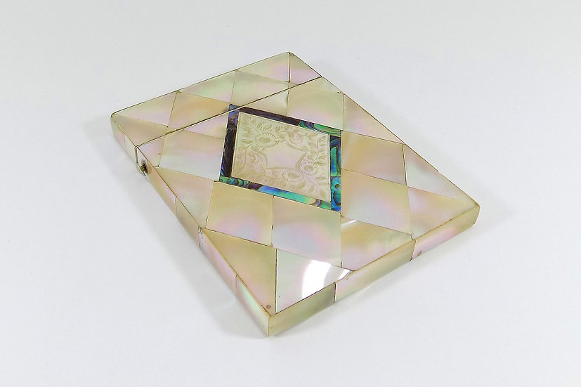 Antique Victorian Mother Of Pearl & Abalone Shell Card Case, c1890