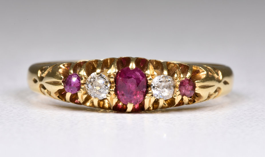 Antique Victorian 18ct Gold Ruby & Diamond Ring, (Birmingham,1898)