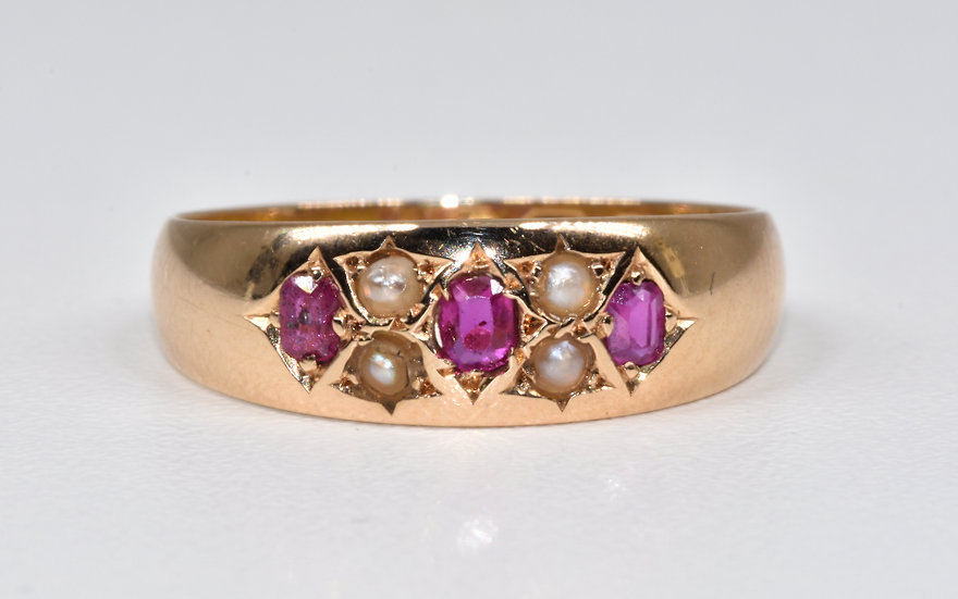 Antique Victorian 15ct Gold Ruby & Seed Pearl Gypsy Ring, (Birmingham,1879)