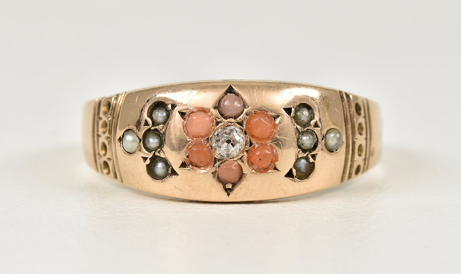 Antique Victorian 9ct Rose Gold Diamond Coral & Seed Pearl Gypsy Ring,B'ham,1895