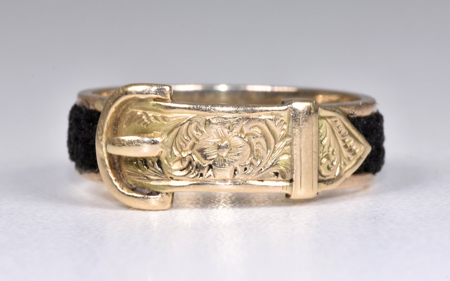 Antique Victorian 9ct Gold Plaited Hair Buckle Mourning Ring, 1867