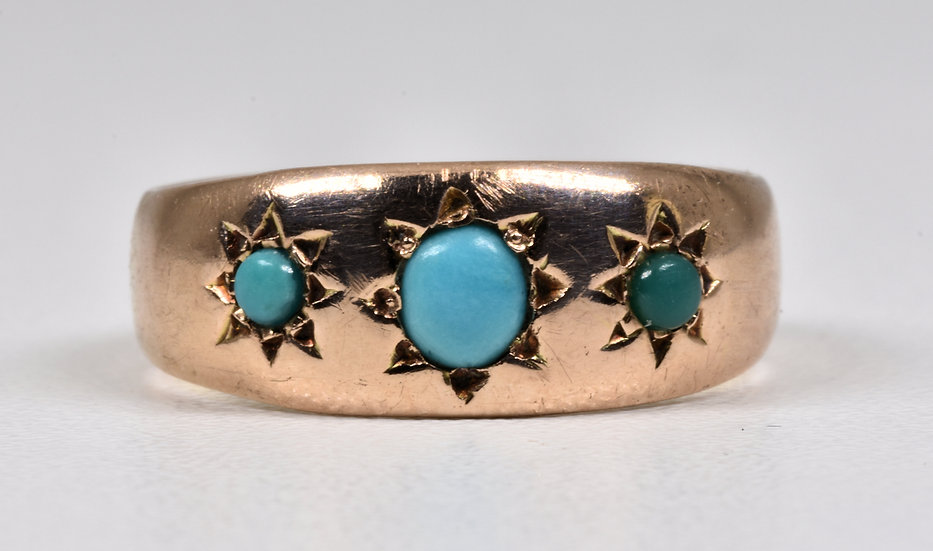 Antique Victorian 9ct Rose Gold Turquoise Gypsy Ring, c1880