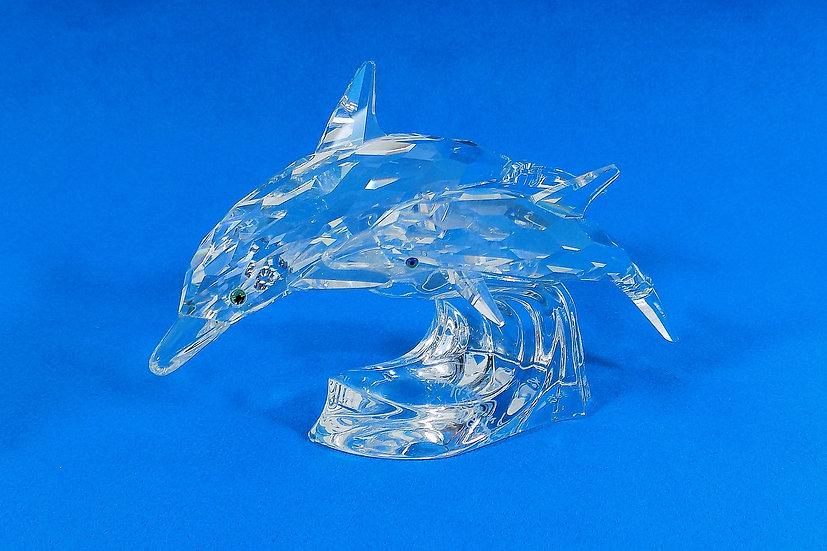 "Swarovski Silver Crystal Dolphins, ""Lead Me"" Signed, Original Case"