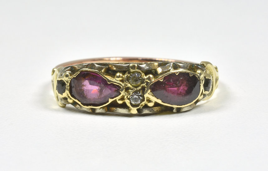 Antique Victorian 15ct Gold, Amethyst, Emerald & Diamond Ring, (c1895)