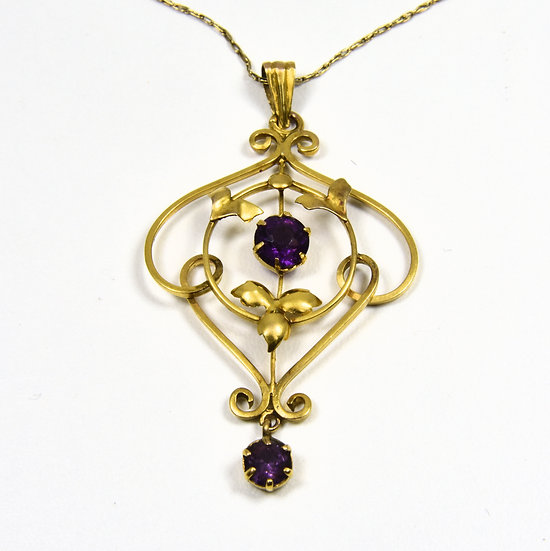 Antique Art Noveau 9ct Gold Amethyst Pendant & Chain,c1905