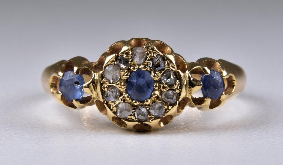 Antique Art Deco 18ct Gold Sapphire & Diamond Ring, (Chester, 1919)