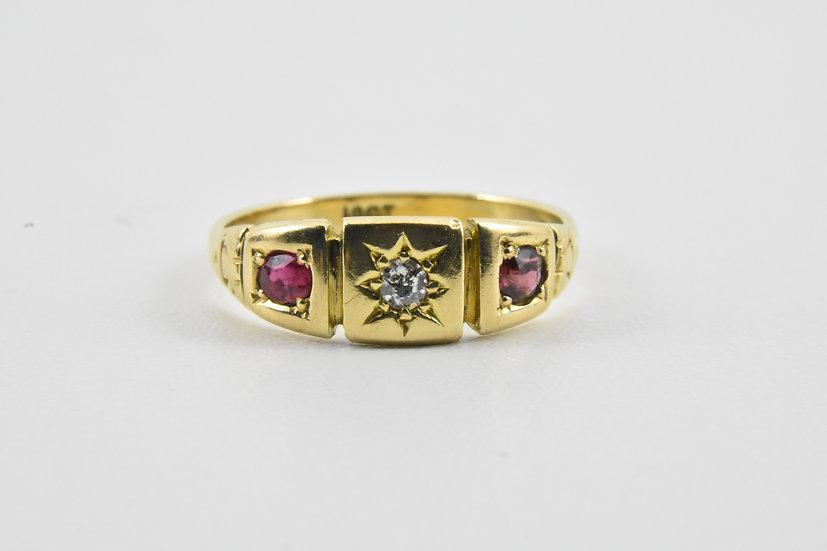 Antique Edwardian 18ct Gold Ruby & Diamond Ring, c1905