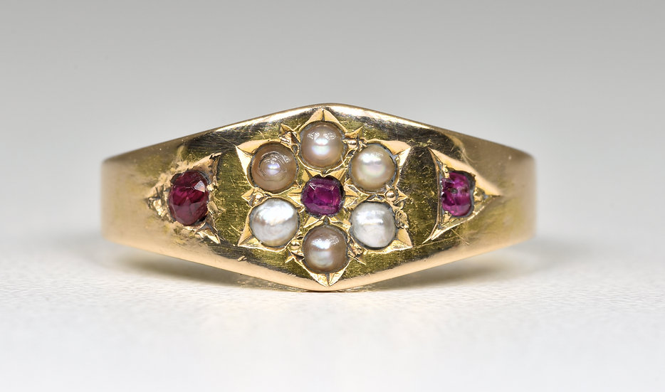 Antique Victorian 15ct Gold Spinel & Seed Pearl Ring, Birmingham,1877