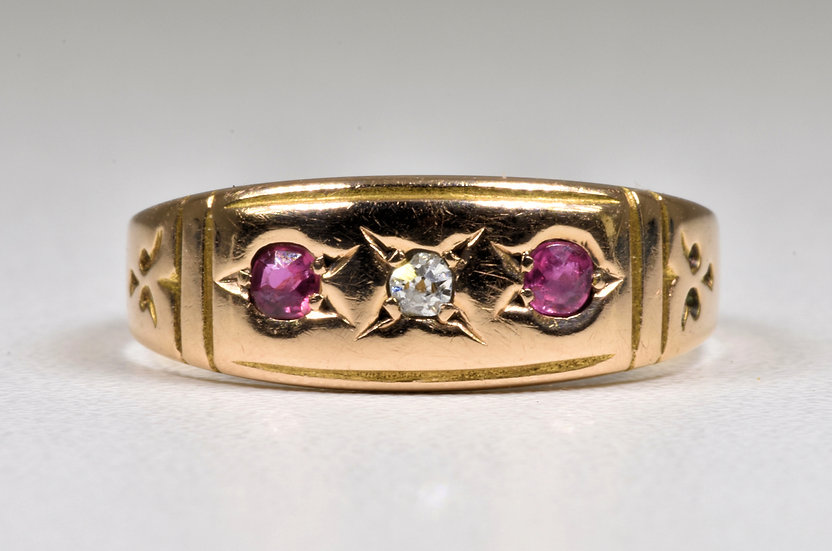 Antique Victorian 15ct Gold Ruby & Diamond Gypsy Ring, (Chester, 1897)