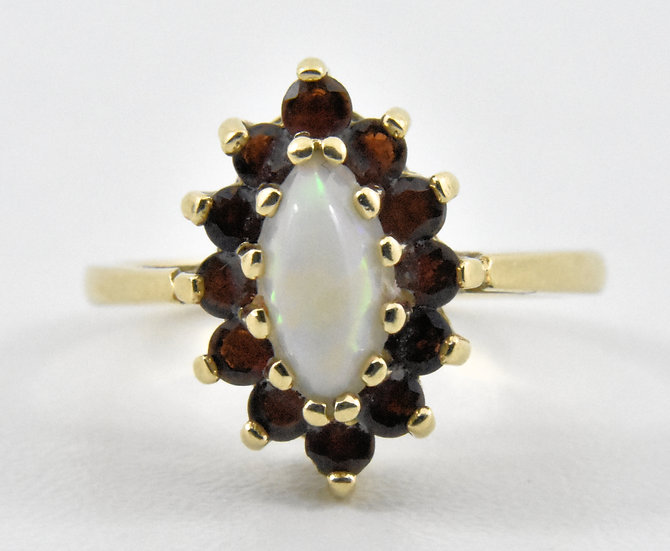 Vintage Ladies 9ct Gold, Fire Opal & Garnet Ring, UK Size H, U.S. Size 4 ,1967