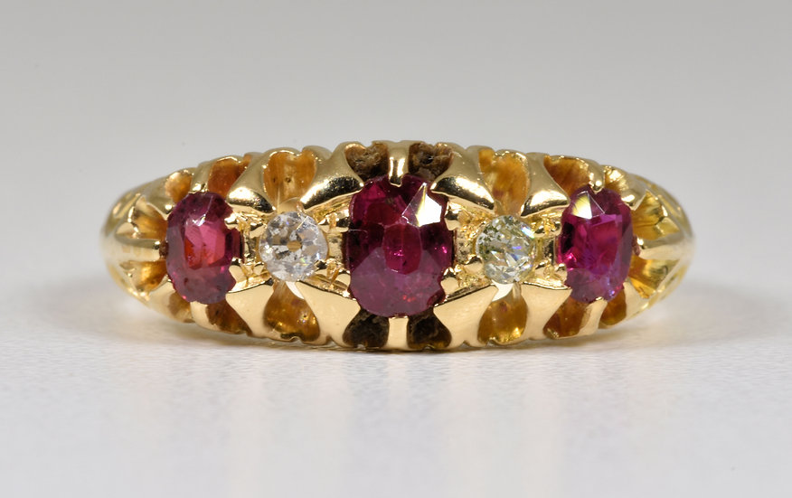 Antique George V 18ct Gold Ruby & Diamond Ring, (Birmingham, 1916)