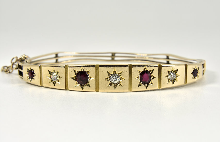 Antique Victorian 15ct Gold Ruby & Diamond Gypsy Set Hinged Bangle, c1880