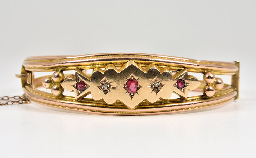 Antique Edwardian 9ct Gold Ruby Diamond Gypsy Set Hinged Bangle, (B'ham,1907)