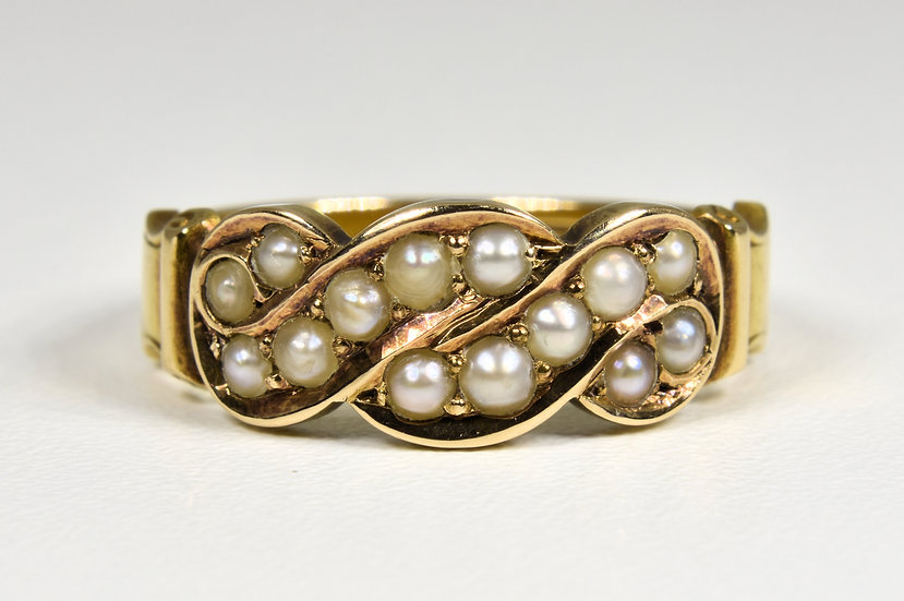 Antique Victorian 15ct Gold, Seed Pearl Ring, 1886.